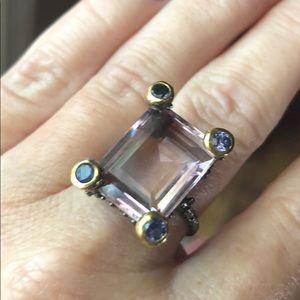 Jewelry - Epic Emerald Cut Natural Amethyst & Tanzanite Ring